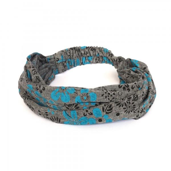 Haarband, grau, schwarz, blau, T 54 cm, B 32 cm
