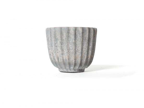 Übertopf, aus Zement, grau, Ø 14 cm, H 12 cm