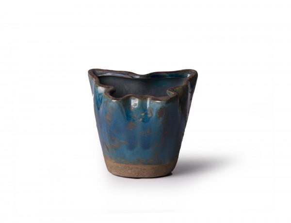 "Übertopf ""Papillon"", blau, Ø 9-11 cm, H 10 cm"