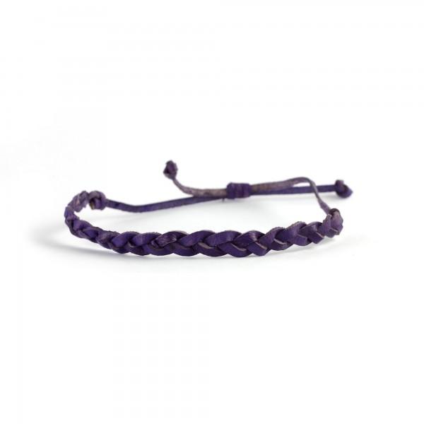 Armband geflochten, lachs, lila, Ø 10 cm
