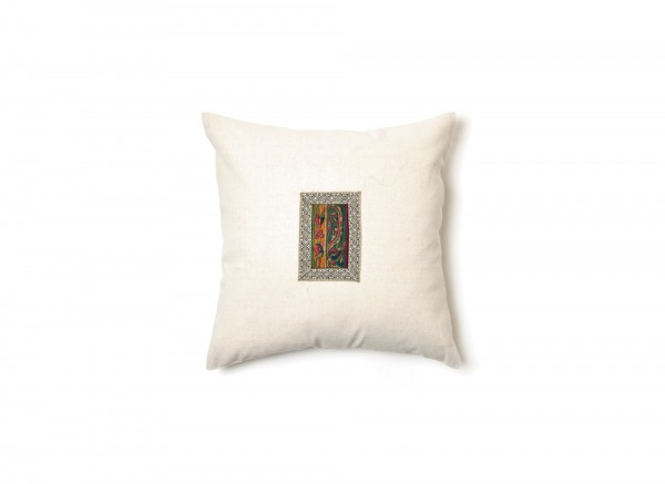 Kissenhülle aus Hanf (Applikation Seide alt), beige, T 45 cm, B 45 cm