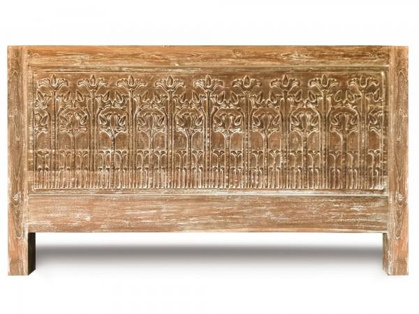 Bett aus massivem Teakholz, natur/gekälkt, T 200 cm, B 180 cm, H 110 cm