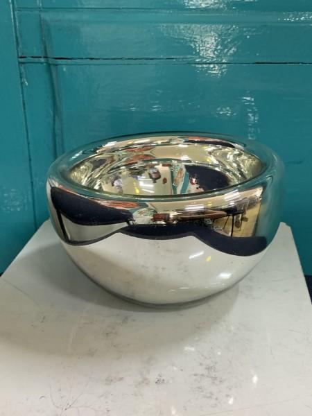 Glasschale, silber, Ø 15 cm, H 9 cm