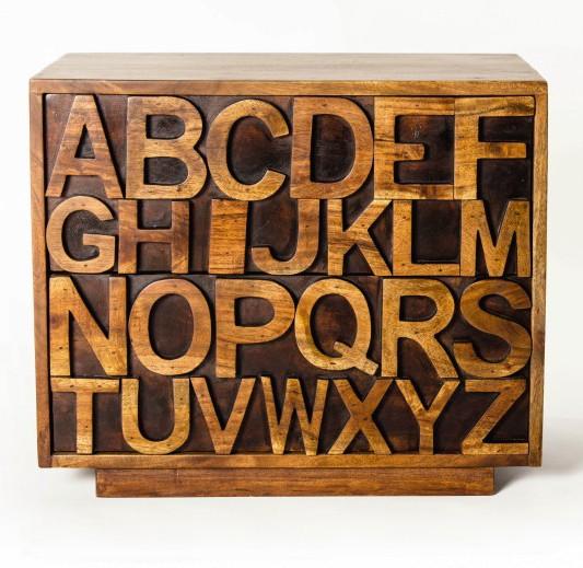 "Sideboard ""ABC"" aus Akazienholz, braun, L 40 cm, B 60 cm, H 50 cm"