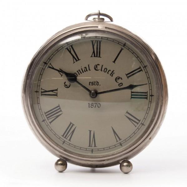 "Uhr ""Colonial"" groß, vernickelt, silber, L 9 cm, Ø 23 cm"