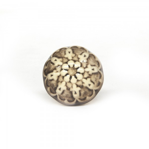 Knopf 'Muster royal', beige, braun, T 4 cm, B 4 cm, H 3,5 cm