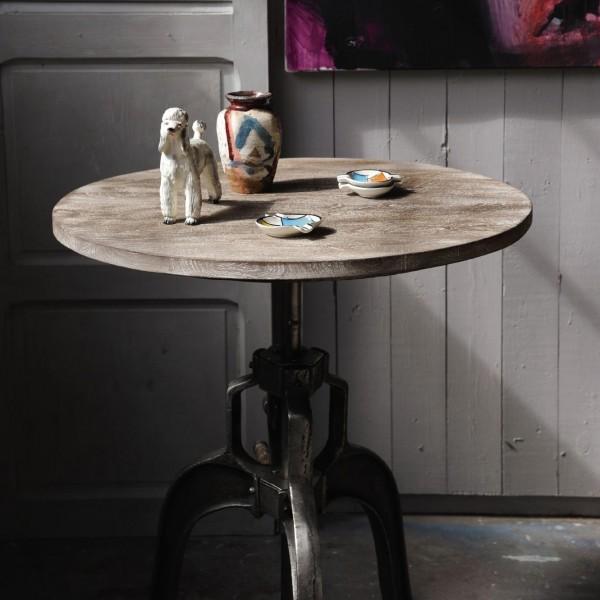 Tisch 'Craig' mit Holzplatte, H 76-109 cm, Ø 76 cm