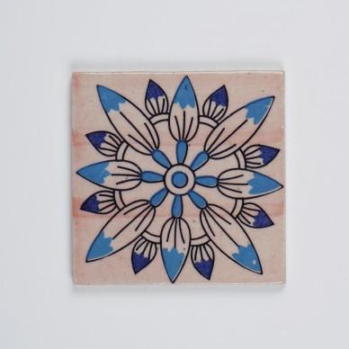 Handbemalter Keramikuntersetzer, blau/weiß, L 10 cm, B 10 cm