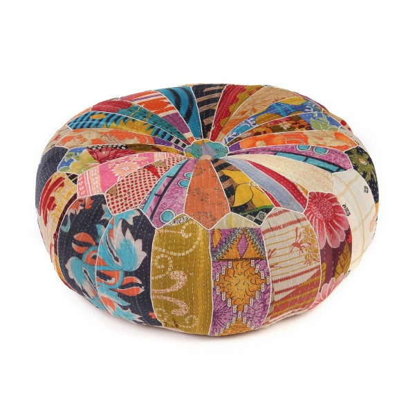 Sitzpouf 'Sanjana' aus alten Saris, multicolor, Ø 60 cm, H 30 cm