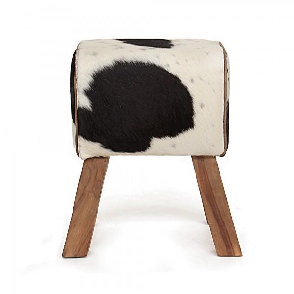 Sitzbock 'Cowell', schwarz-weiß,natur, T 30 cm, B 43 cm, H 51 cm