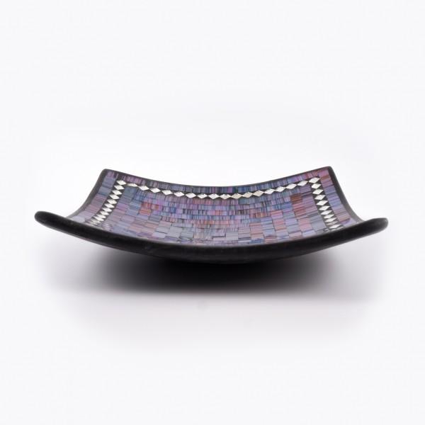 Mosaikteller rechteckig, blau, L 25 cm, B 25 cm, H 7 cm