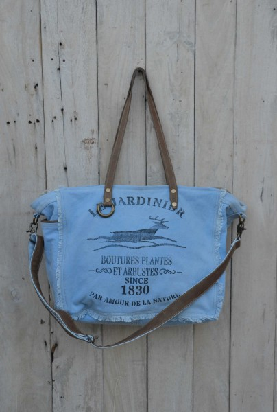 "Umhängetasche ""Le Jardinier"", hellblau, B 42 cm, H 34 cm"