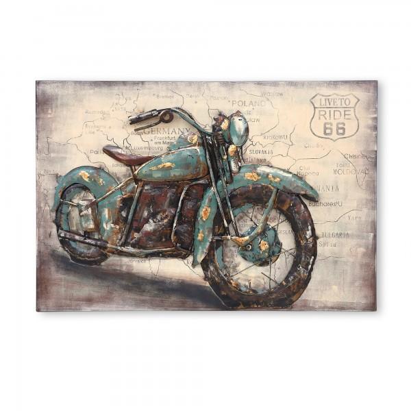 Wandkunst 'Motorrad 66', multicolor, T 8 cm, B 120 cm, H 80 cm