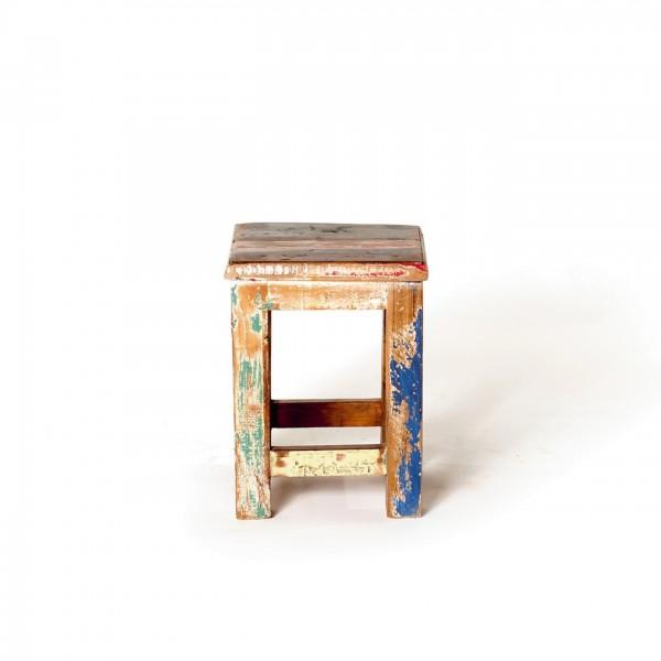 Beistelltisch 'Jarrow' aus recyceltem Holz, multicolor, T 22 cm, B 22 cm, H 30 cm