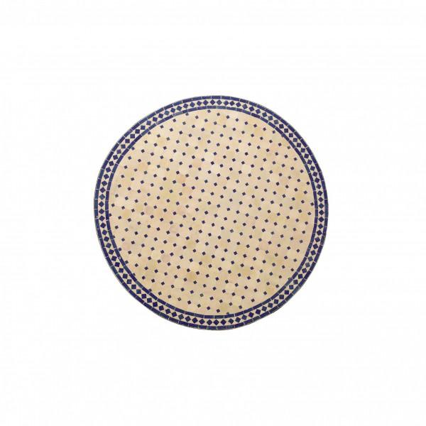 runder Tische, beige/blau, H 75 cm, Ø 70 cm