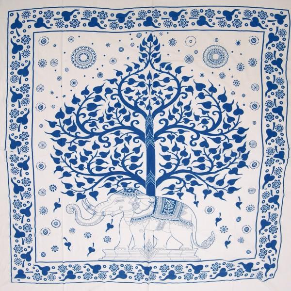 """Tagesdecke """"Lebensbaum"""", aus 100% Baumwolle, türkis/weiß, L 210 cm, B 245 cm"""