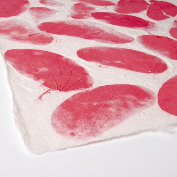 Geschenkpapier handgeschöpft, pink/weiß, L 55 cm, B 80 cm