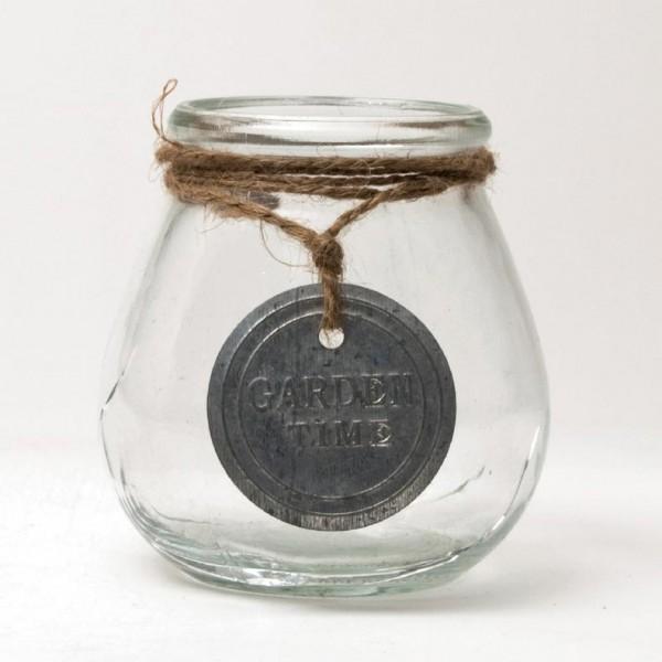 Glasvase mit Kordel und Emblem, klar, H 10,5 cm, Ø 10,5 cm