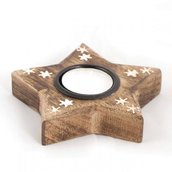 """Teelichthalter """"Weihnachtsstern"""", braun, L 12 cm, B 12 cm, H 2,5 cm"""