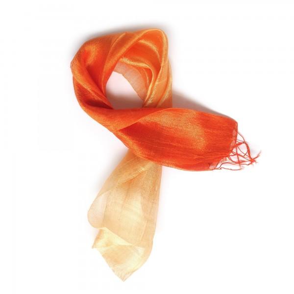 Seidenschal, orangetöne, T 175 cm, B 35 cm