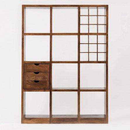 Regal mit 12 Fächern, braun, L 28 cm, B 137 cm, H 184 cm
