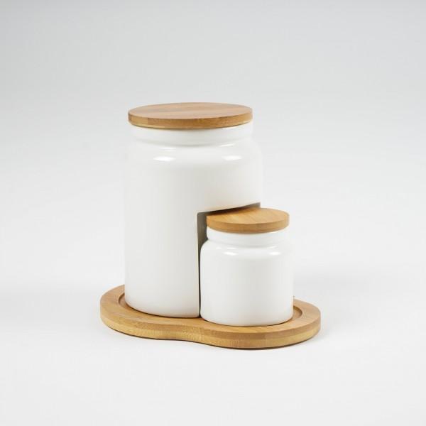 """Tischset """"Marmelade"""", weiß, Ø 7 cm, H 8 cm, Ø 11 cm, H 15 cm"""
