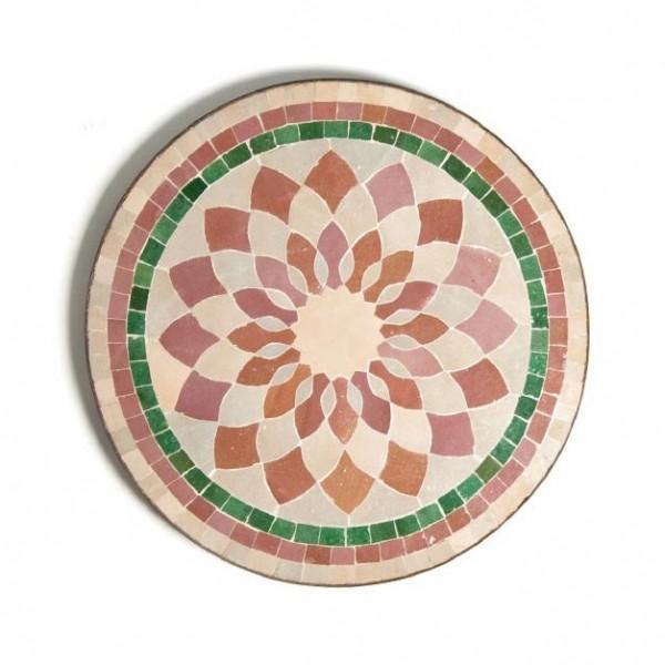 Mosaiktisch rund, grün/braun, H 63 cm, Ø 50 cm