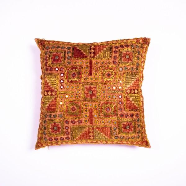 Handbestickte Kissenhülle, multicolor, L 40 cm, B 40 cm