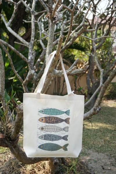 Stoffbeutel '5 Fische', multicolor, L 40 cm, B 9 cm, H 40 cm