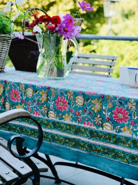 Tischdecke, blau, floral, T 100 cm, B 100 cm