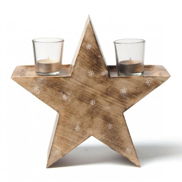 """Kerzenhalter """"Stern"""" aus Holz mit 2 Gläsern, braun, B 24 cm, H 24 cm"""
