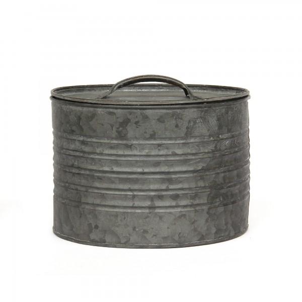 runde Deckeldose M, grau, Ø 17 cm, H 12 cm