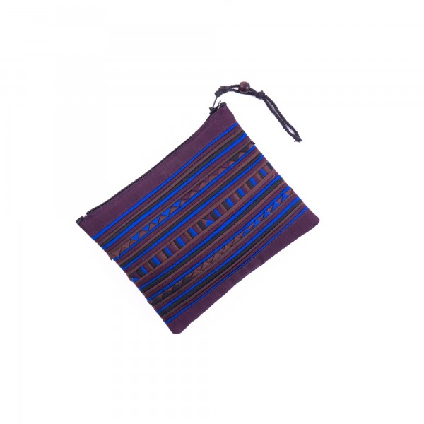 Täschchen mit Reißverschluss, weinrot/blau, L 14 cm, H 10 cm