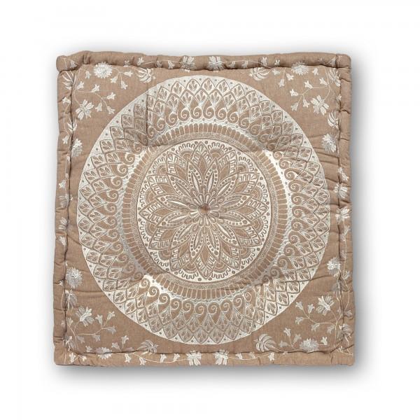 Sitzkissen 'New Mandala', braun, beige, T 60 cm, B 60 cm, H 10 cm