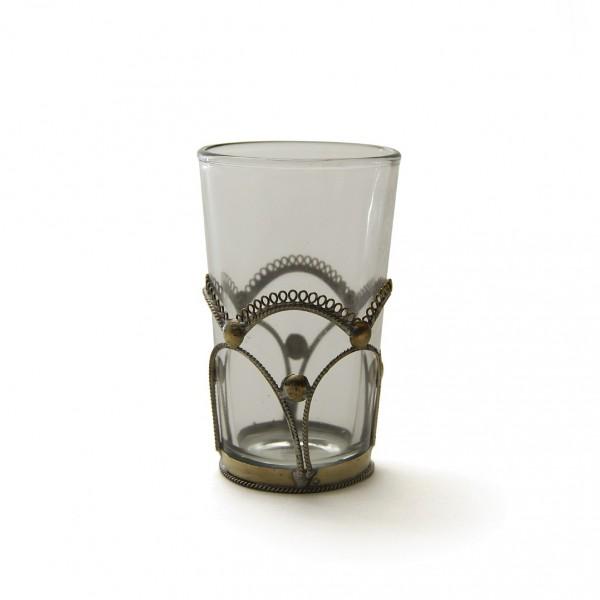 "Teeglas ""Tokyo"", mit Metallverzierung, klar, H 8 cm, Ø 5 cm"