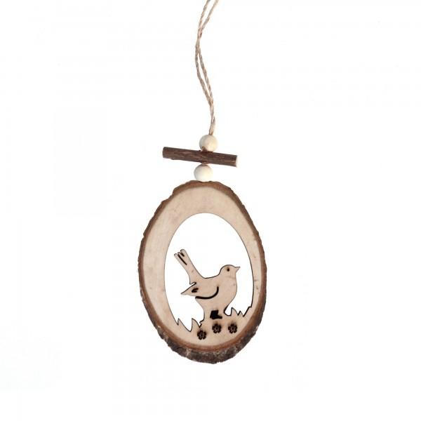 Holzanhänger Vogel, braun, T 0,7 cm, B 7 cm, H 20 cm