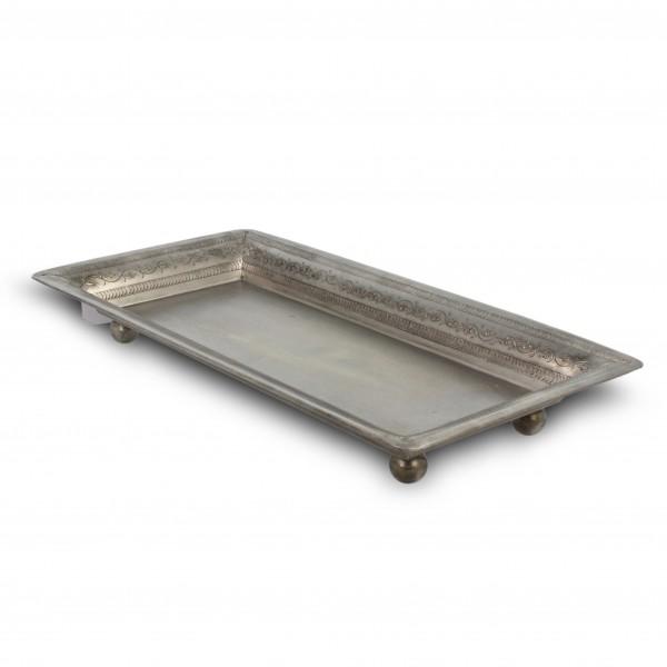 Teller eckig, vernickelt, silber, L 26 cm, B 13 cm, H 3 cm