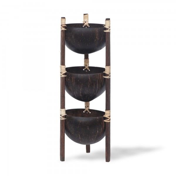 Schalenständer Kokosnuss 3er, natur, Ø ~12 cm, H 38 cm