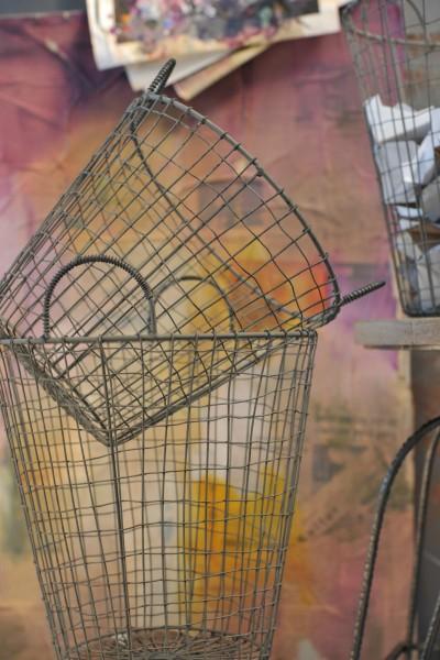 Drahtkorb groß, grau, Ø 33 cm, H 42 cm
