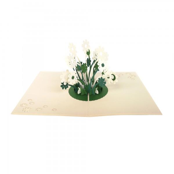 Pop Up Karte 'Kleeblumen', weiß, T 18 cm, B 13 cm