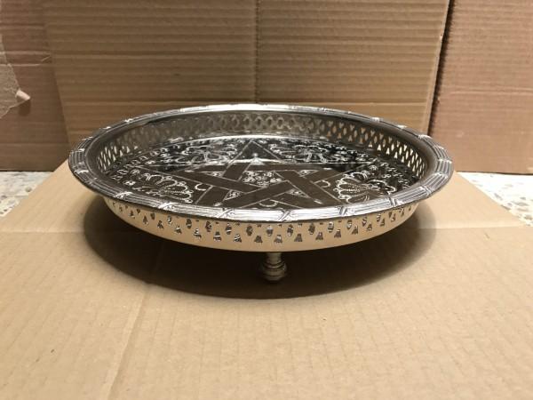 Teetablett 1 Stern mit Fuß, silber, schwarz, Ø 30 cm, H 3,5 cm