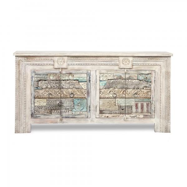 Sideboard 'Lagana', 4türig, weiß gekälkt, multicolor, T 40 cm, B 180 cm, H 90 cm