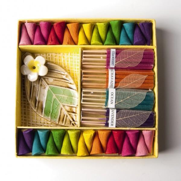 """Räucherset mit Keramikhalter """"Blatt"""", multicolor, L 10 cm, B 5 cm"""