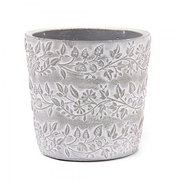 Zementtopf Blumenranke, grau, weiß, Ø 13,2 cm, H 12,5 cm