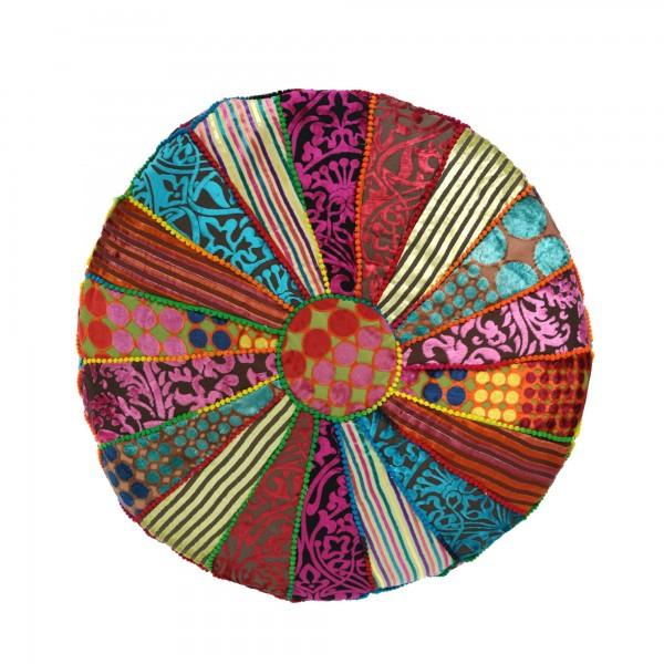 Pouf 'Patchwork', multicolor, Ø 60 cm, H 30 cm
