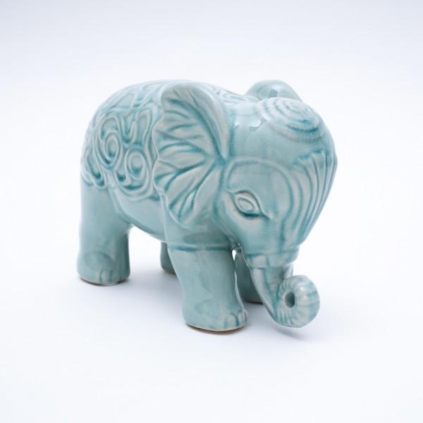 Keramik-Elefant stehend, türkis, L 26 cm, H 18 cm
