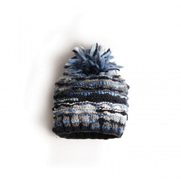 Bommelmütze blau/grau, handgestrickt in Nepal