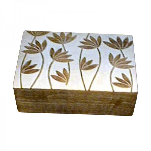 "Holzbox ""Lotus"", weiß, L 25 cm, B 18 cm, H 9 cm"