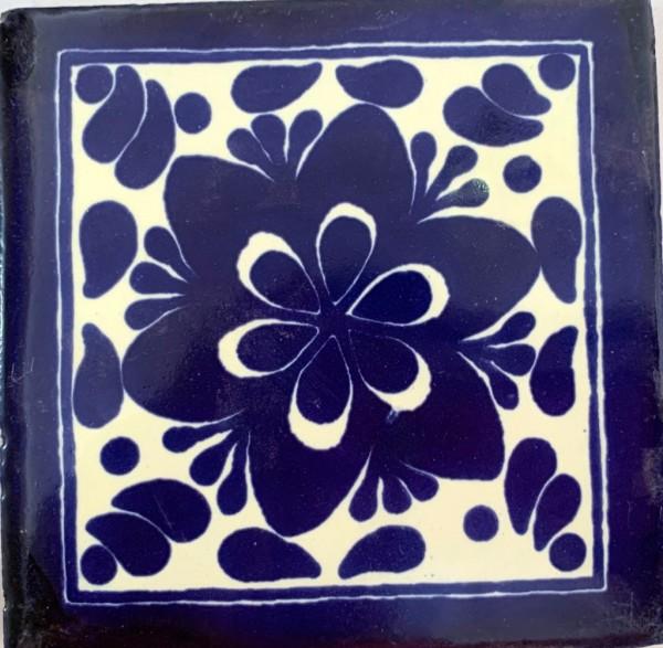 Kachel 'Morelos', weiß, blau, T 10 cm, B 10 cm, H 0,5 cm