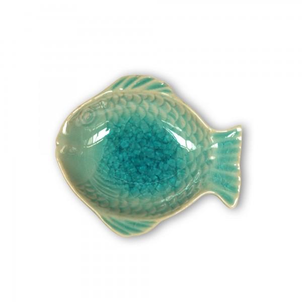 Schale 'Fisch', blau, T 10 cm, B 9,5 cm, H 2 cm